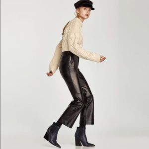 Zara New real leather trousers pants size M Black